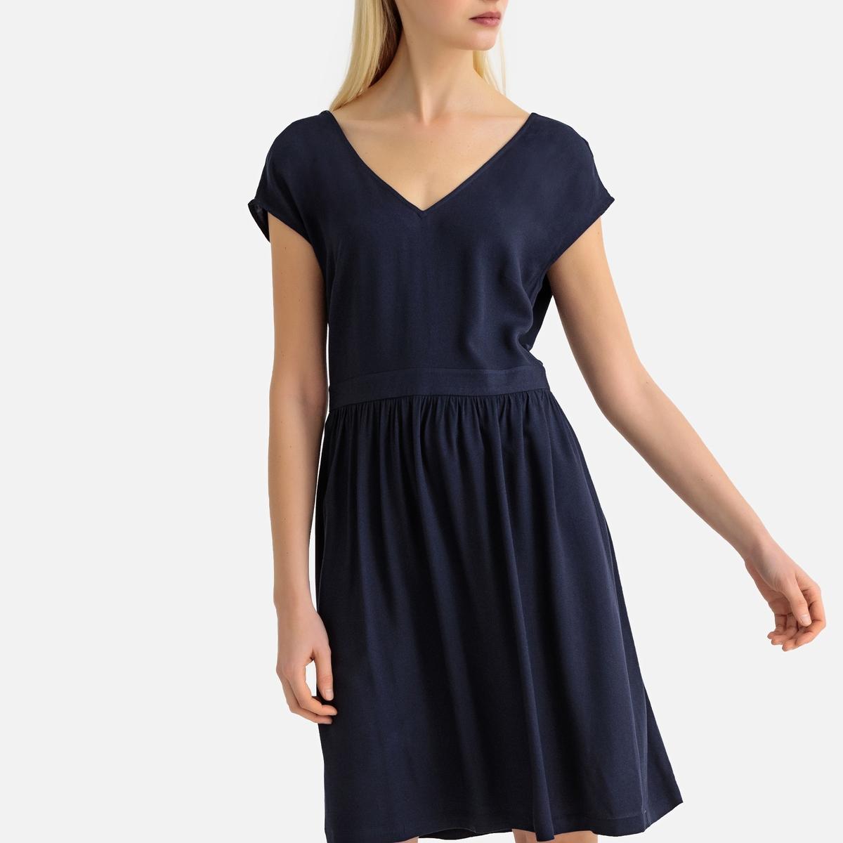 Платье-миди La Redoute Расклешенное без рукавов с оригинальной спинкой 34 (FR) - 40 (RUS) синий цена