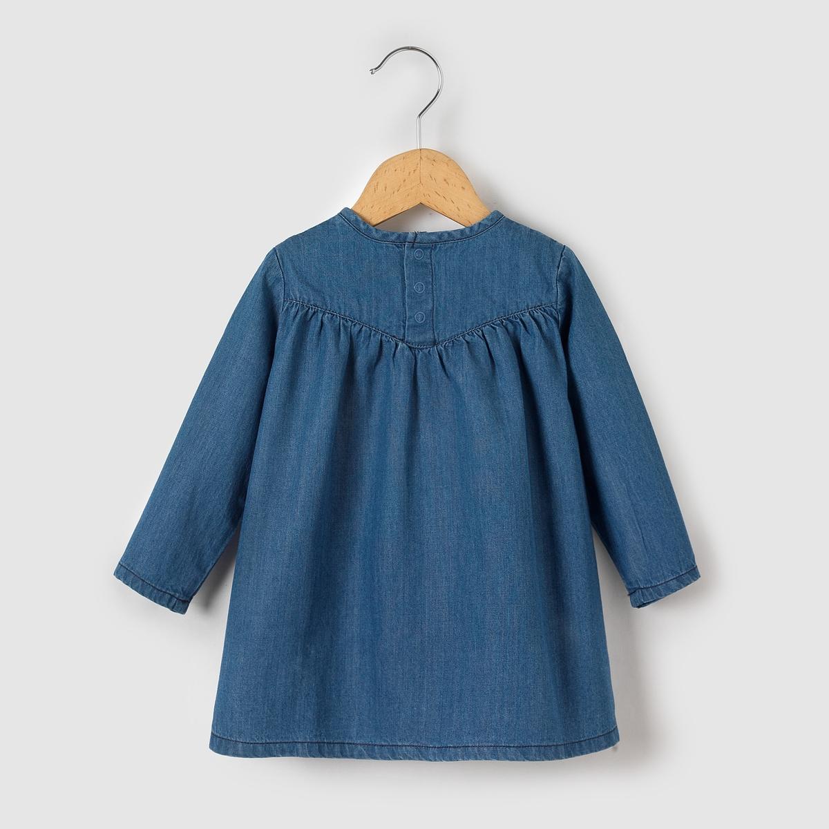 Платье из денима, 1 месяц - 3 годаПлатье из лёгкого денима. Длинные рукава. Отрезная деталь под грудью, декорированная складками и вышивкой. Застёжка на кнопки сзади.Состав и описаниеМатериал: 100% хлопка.Марка: R essentielУходСтирать и гладить с изнанки.Машинная стирка при 30°C с вещами подобных цветов.Машинная сушка в обычном режиме.Гладитьна средней температуре.<br><br>Цвет: деним<br>Размер: 1 мес. - 54 см