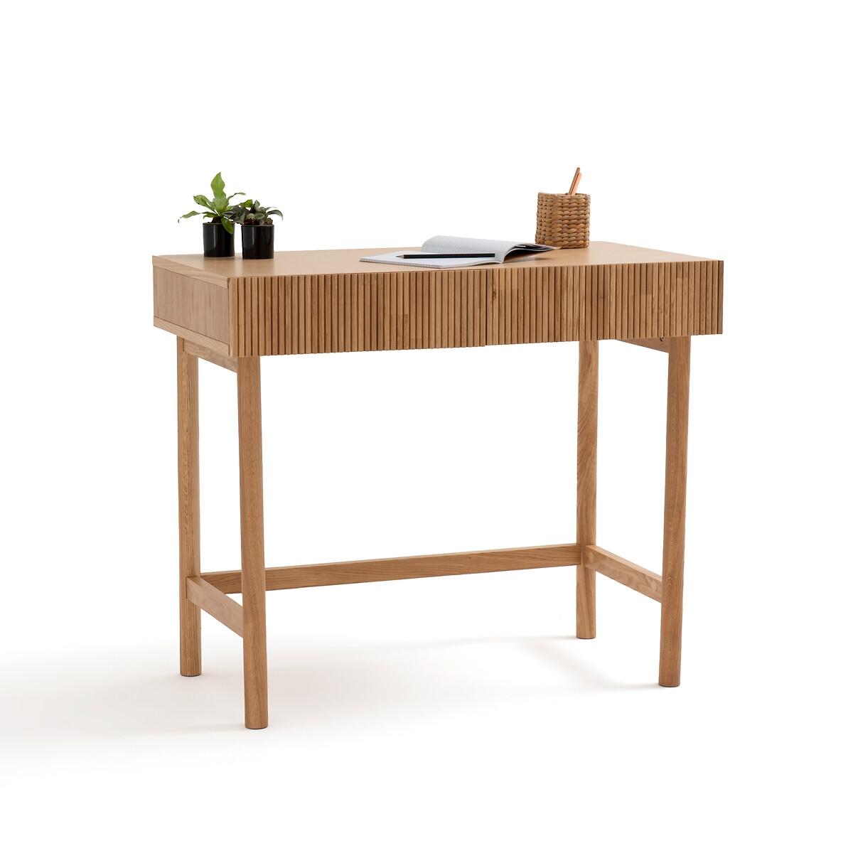 Стол LaRedoute Письменный из дуба с 2 ящиками Pilpao единый размер каштановый