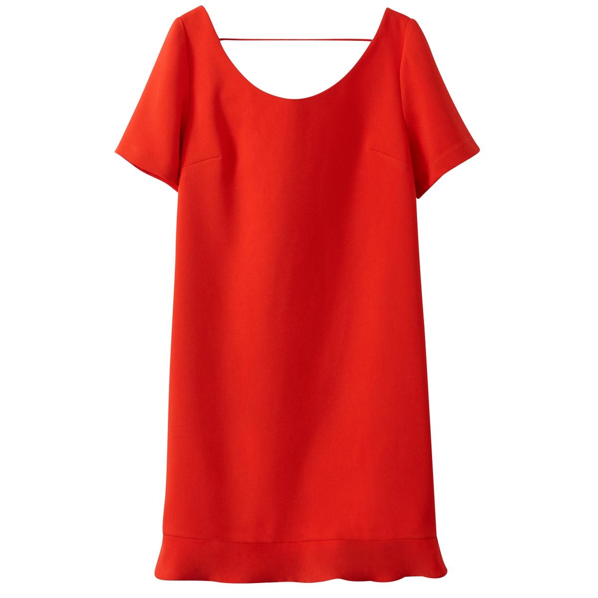 Платье с короткими рукавами и глубоким вырезом сзадиОписание:Детали  •  Форма : расклешенная   •  Укороченная модель •  Тонкие бретели    •  Круглый вырезСостав и уход •  100% простой полиэфир •  Следуйте советам по уходу, указанным на этикетке<br><br>Цвет: красный<br>Размер: XS