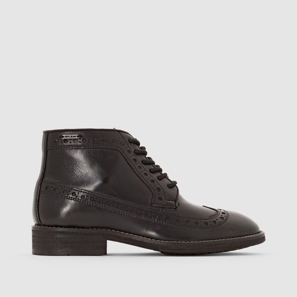 Ботинки кожаные на шнуровке, HACKNEYПодкладка: Хлопок и кожа.Стелька: Кожа.   Подошва: Синтетический материал ТПР.Высота голенища: 10 см.Высота каблука: 3 см.      Форма каблука: Широкая.Мысок: Круглый.       Застежка: Шнуровка.<br><br>Цвет: черный<br>Размер: 40