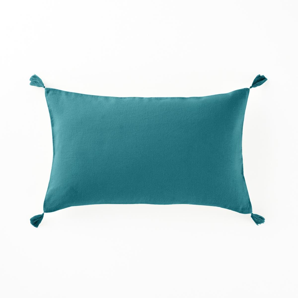 Чехол La Redoute На подушку из льна и вискозы ODORIE 50 x 30 см синий чехол из льна с помпонами для изголовья кровати sandor