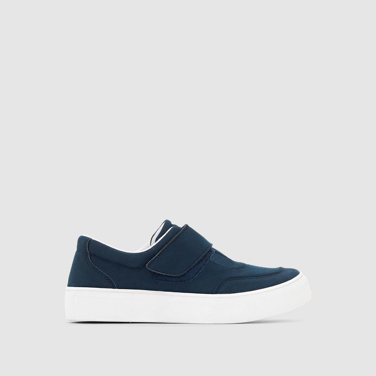Кеды синтетическиеДетали  •  Спортивный стиль •  Плоский каблук •  Застежка : планка-велкро •  Гладкая отделкаСостав и уход  •  Верх 100% синтетический материал •  Подкладка 100% хлопок<br><br>Цвет: сине-серый<br>Размер: 30.32.38