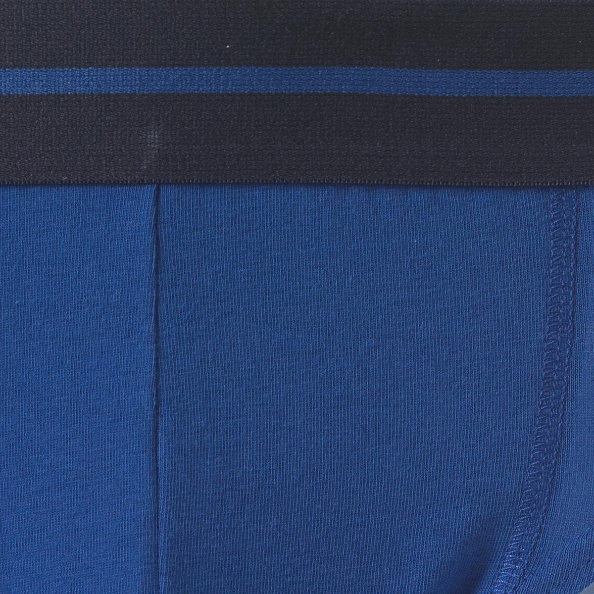 Комплект из 3 трусов-слипов из трикотажа джерсиТрусы-слипы из трикотажа джерси R essentiel.    Эластичный пояс с жаккардовым рисунком с 1 полосой. На подкладке спереди, декоративные швы флэтлок в тон. Двойная прострочка в тон. Этикетка из ткани. В комплекте 3 трусов-слипов: 1 трусы-слипы с рисунком + 1 однотонные трусы-слипы + 1 трусы-слипы в полоску. Состав и описаниеМатериал : 95% хлопка, 5% эластанаМарка : R essentielУходМашинная стирка при 40 °CСтирать с вещами схожих цветовГладить при низкой температуреНе гладить эластичный пояс<br><br>Цвет: Синий + синий рисунок + синяя полоска<br>Размер: L.M