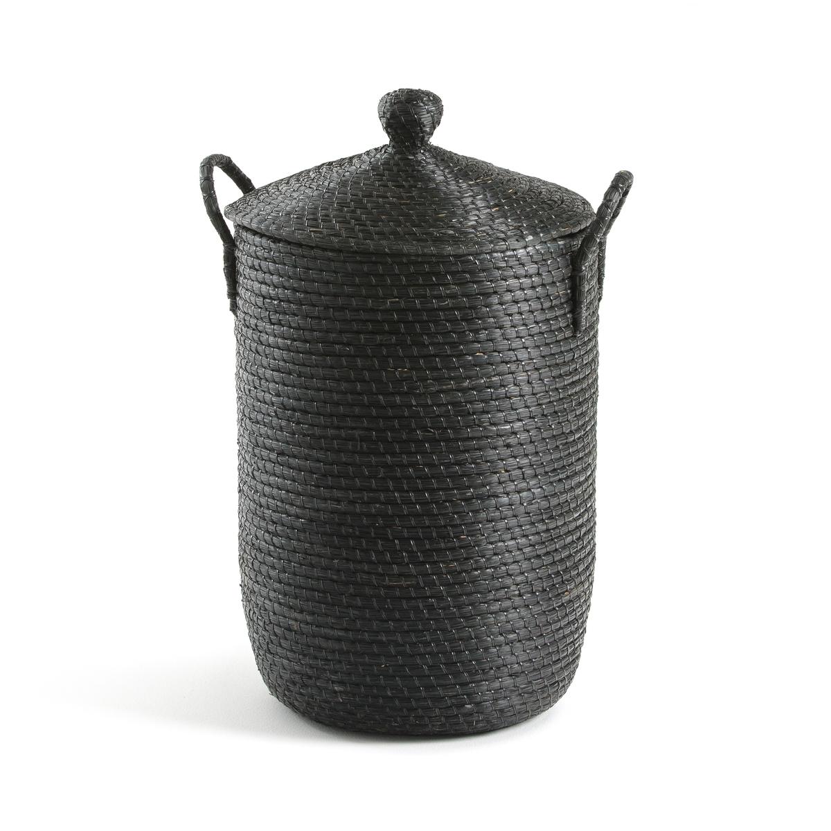 Фото - Корзина LaRedoute Для белья из плетеной рисовой соломы Honoka единый размер черный корзина laredoute для белья из ткани louison единый размер серый