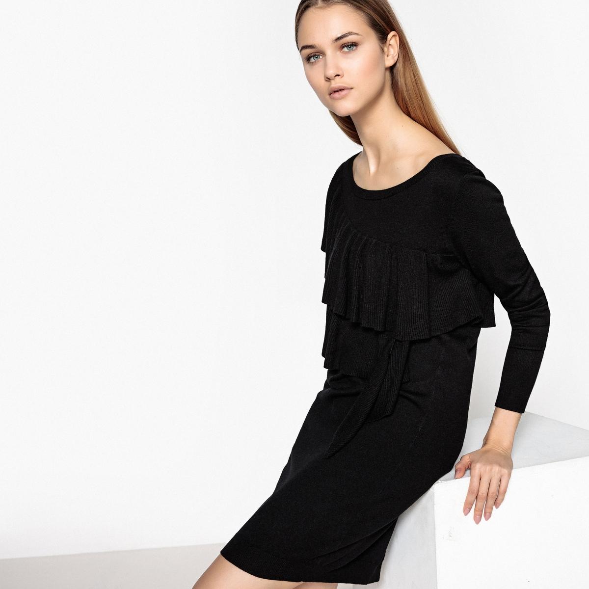 Платье трикотажное с воланами и длинными рукавами