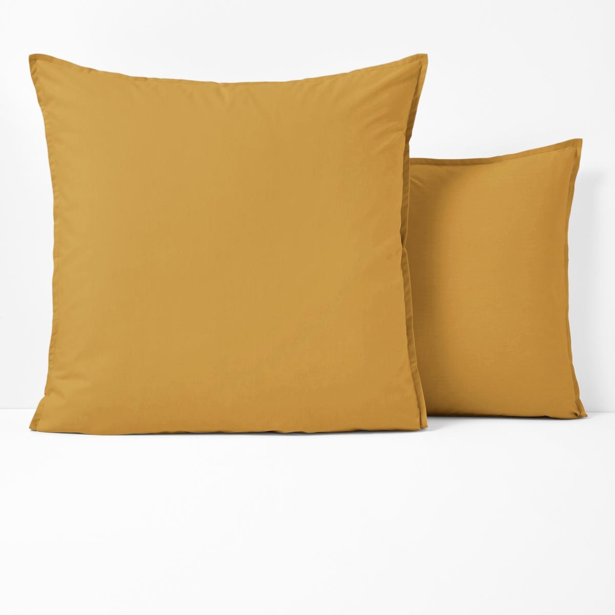 Наволочка LaRedoute Однотонная из перкали из биохлопка 63 x 63 см желтый наволочка laredoute из хлопковой перкали isoline 63 x 63 см другие