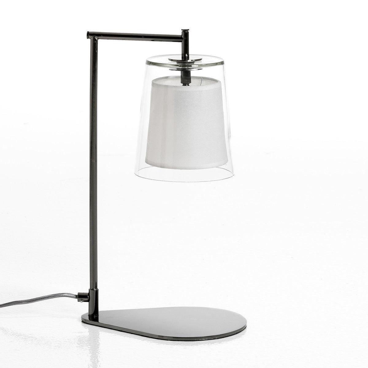 Лампа настольная Duo дизайн Э. ГаллиныЛампа настольнаяDuo . Эксклюзивная разработка Emmanuel Gallina для AM.PM    . В этой коллекции размеры изделий адаптированы для маленьких и больших пространств, они добавят яркую нотку в ваш интерьер. Коллекция светильников DUO всегда сочетает колпак из стекла с абажуром из бумаги кальки, рассеивающей свет, что создает уютную и приятную атмосферу .Характеристики : - Абажур из цветного стекла и кальки . - Ножка из хромированного металла . - Патрон E14. - Флюокомпактная лампочка макс 11 W, не входит в комплект. - Совместима с лампочками электрического класса  A.     Размеры : - Абажур ?15 x Выс17,3 см . - Низ .24,5 x .17 см. - Общая высота 44 см .<br><br>Цвет: прозрачный