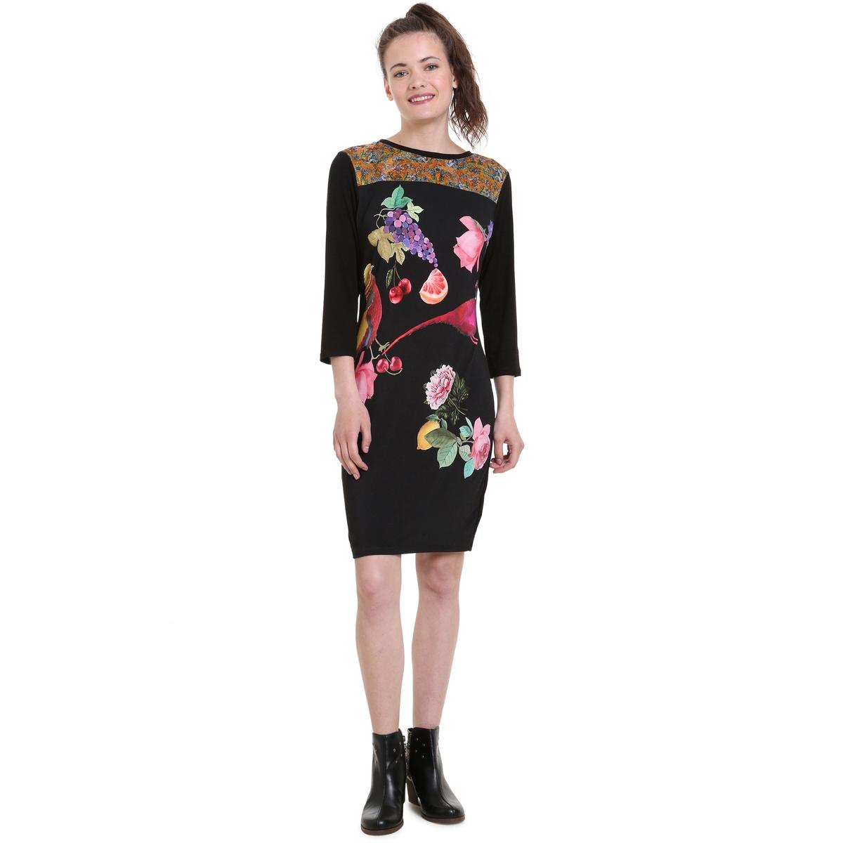 Платье La Redoute С длинными рукавами круглым вырезом и цветочным рисунком из джерси S черный блузка la redoute с круглым вырезом цветочным рисунком и длинными рукавами s черный