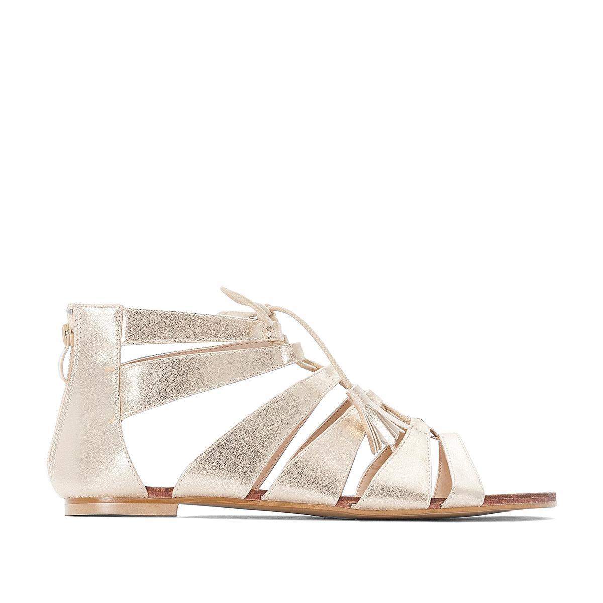 цена на Босоножки La Redoute На шнуровке на плоском каблуке для широкой стопы размеры - 43 золотистый