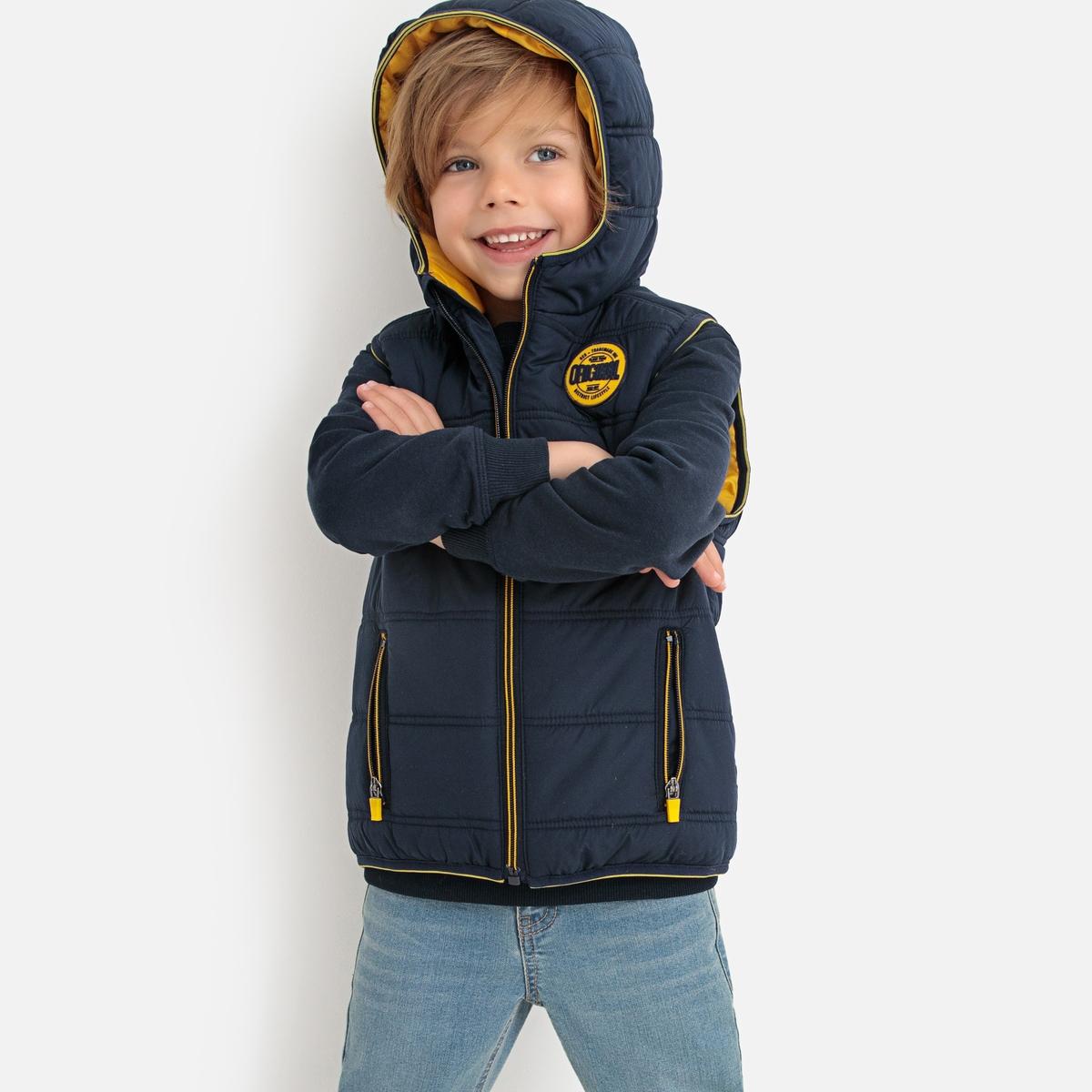 цена Куртка La Redoute Без рукавов с капюшоном 3 года - 94 см синий онлайн в 2017 году