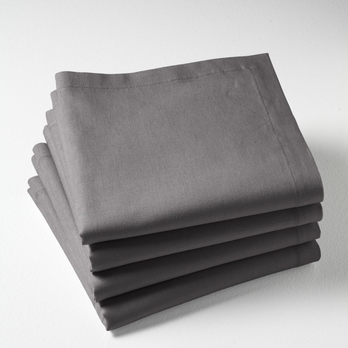 Комплект из салфеток из La Redoute Льна и хлопка BORDER 45 x 45 см серый комплект из полотенце для la redoute рук из хлопка и льна nipaly 50 x 100 см белый
