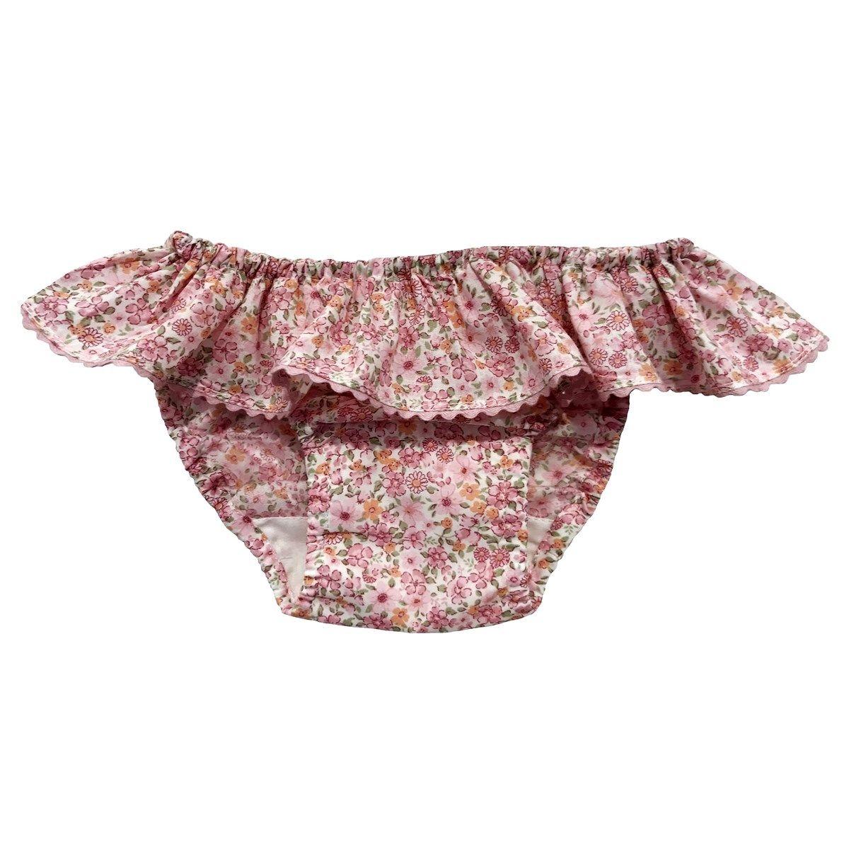 Maillot de bain volant en coton motif fleuri JADE