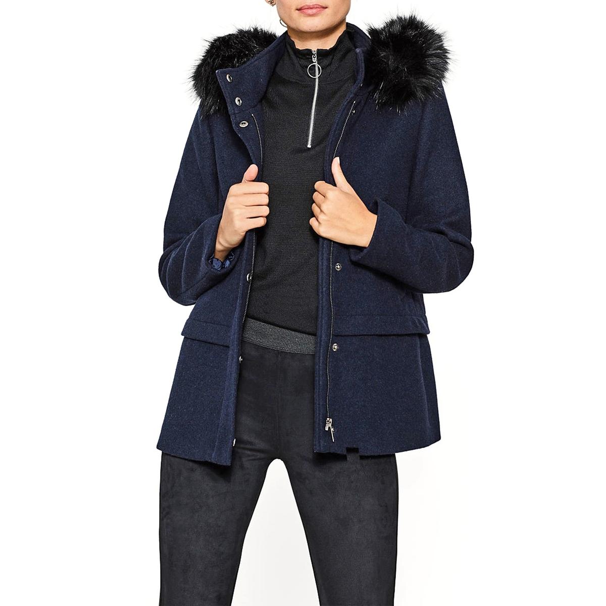 Abrigo mujer con capucha con contorno de pelo sintético