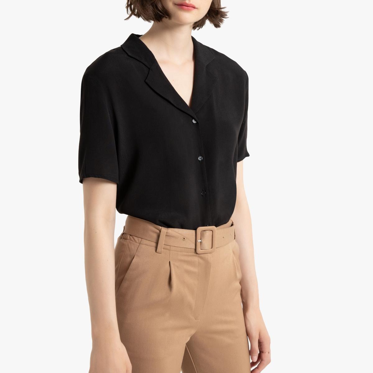 Блузка La Redoute С пиджачным воротником и короткими рукавами 34 (FR) - 40 (RUS) черный