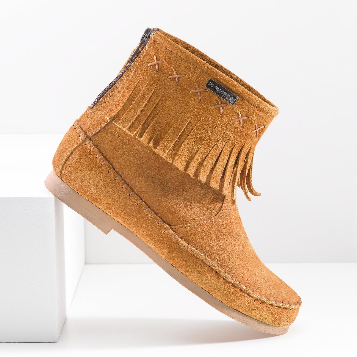 Ботильоны кожаные с бахромой CrabeОписание:Детали •  Высота голенища : 13 см для размера 37 •  Высота каблука : 1 см. •  Застежка : на молнию •  Круглый мысокСостав и уход  •  Верх 100% спилок •  Подкладка 100% текстиль •  Стелька 100% кожа •  Подошва 100% эластомер<br><br>Цвет: темно-бежевый,черный<br>Размер: 33
