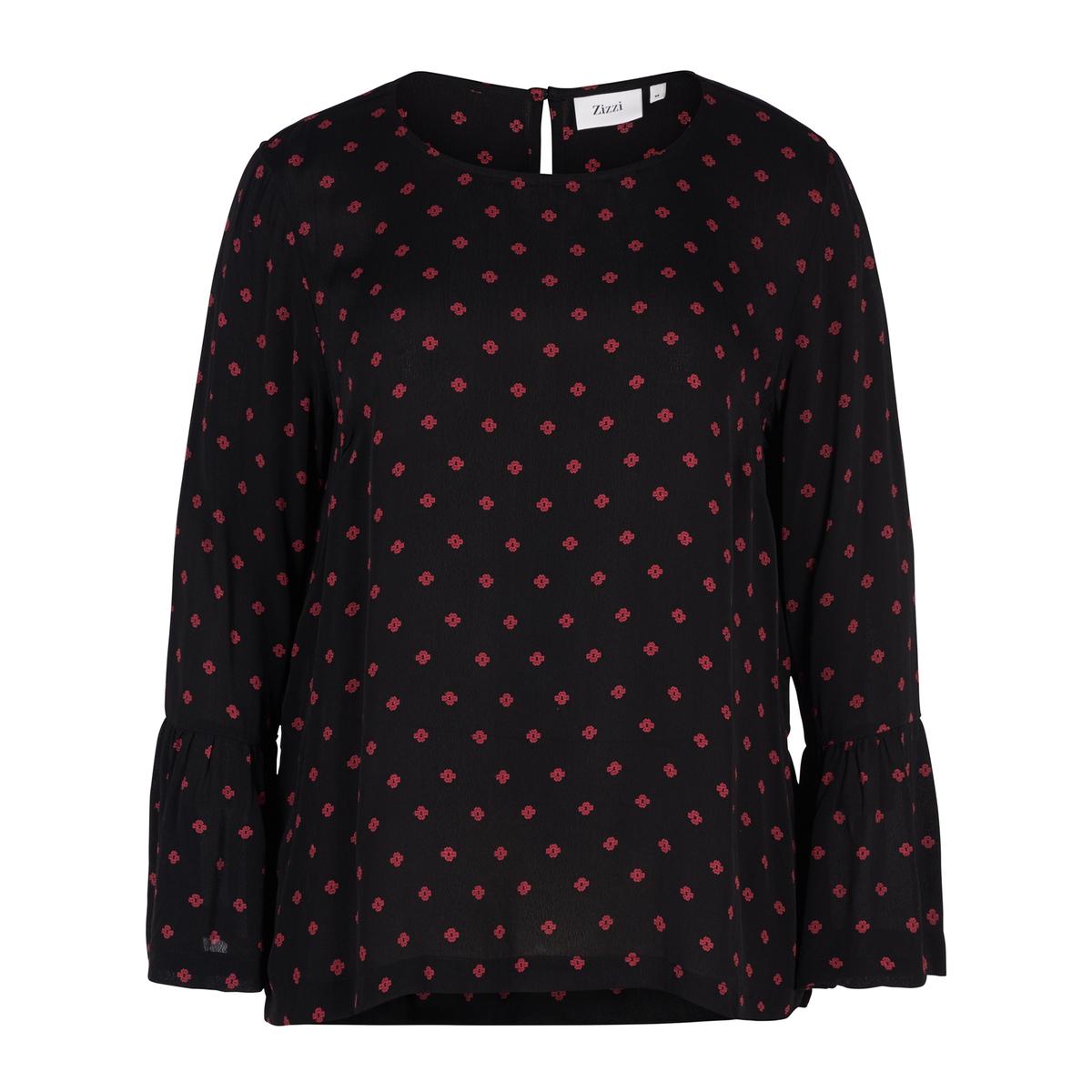 Блузка с принтом в горошек, рукава с воланами