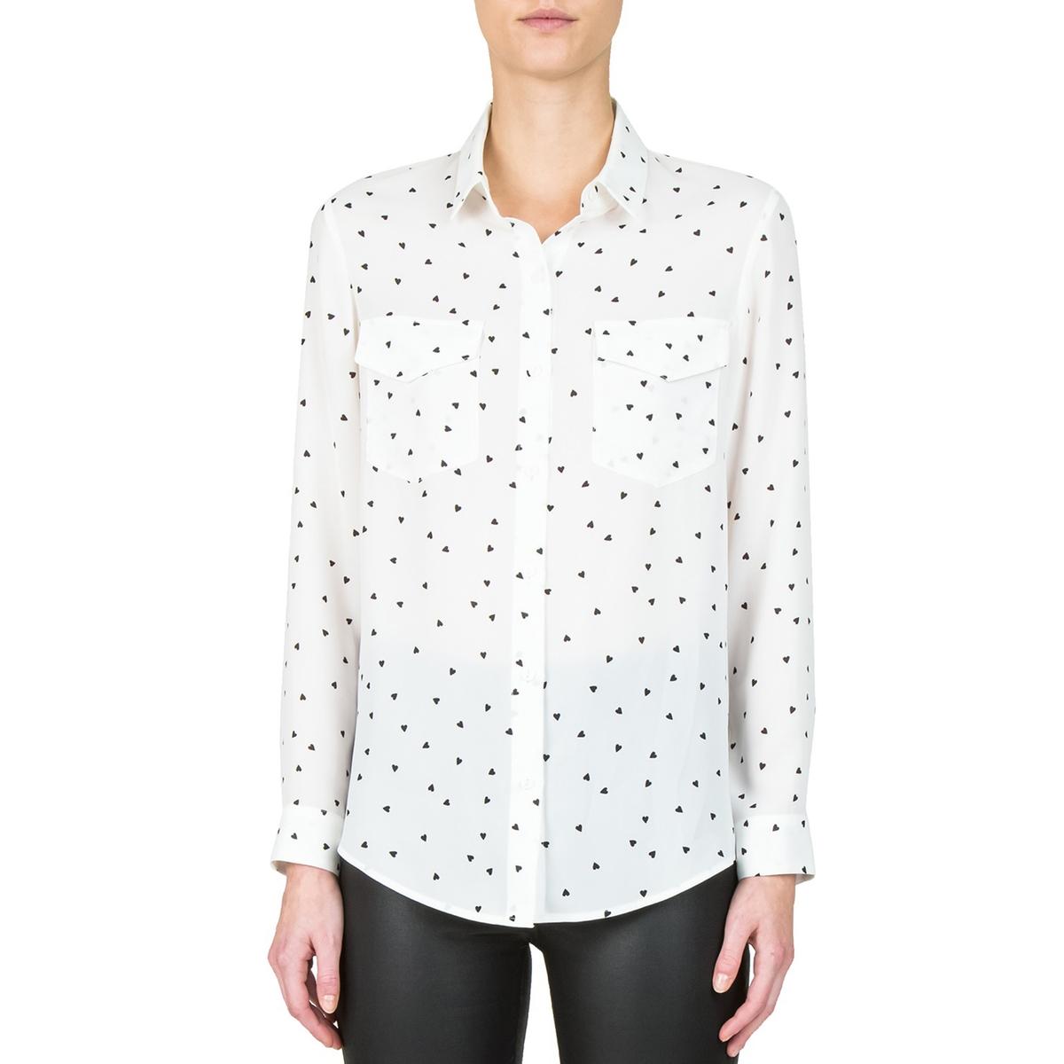 Рубашка с принтом сердечкиОписание:Рубашка с длинными рукавами THE KOOPLES. Шелк с принтом сердечки и нагрудные карманы с клапанами .  . Низ рукавов на пуговицах и закругленный низ . Детали •  Длинные рукава •  Прямой покрой •  Воротник-поло, рубашечный •  Рисунок-принтСостав и уход •  100% полиэстер •  Следуйте советам по уходу, указанным на этикетке<br><br>Цвет: рисунок/экрю
