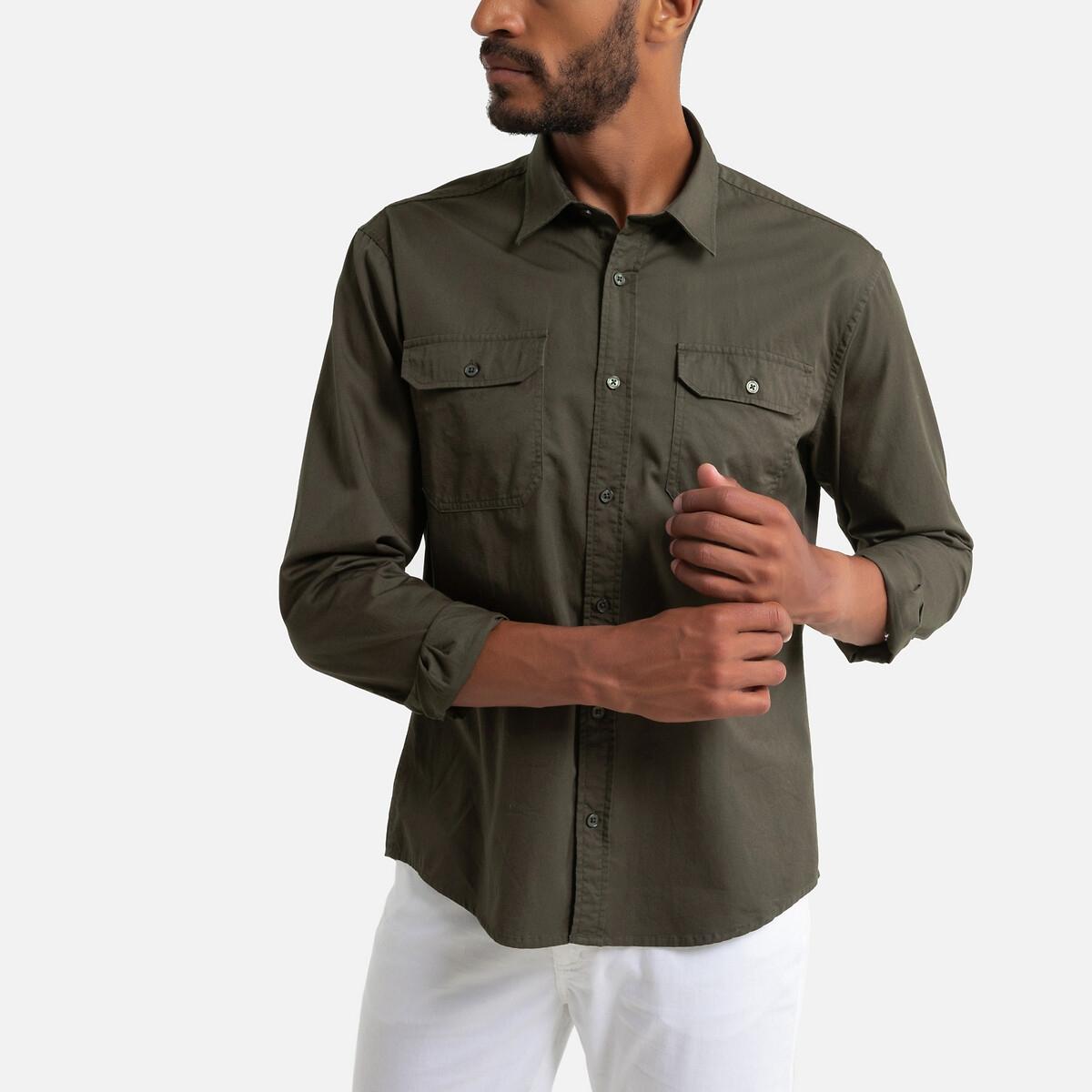 Рубашка LaRedoute Прямого покроя с карманами на груди длинные рукава 45/46 зеленый блузка laredoute прямого покроя с бахромой l бежевый