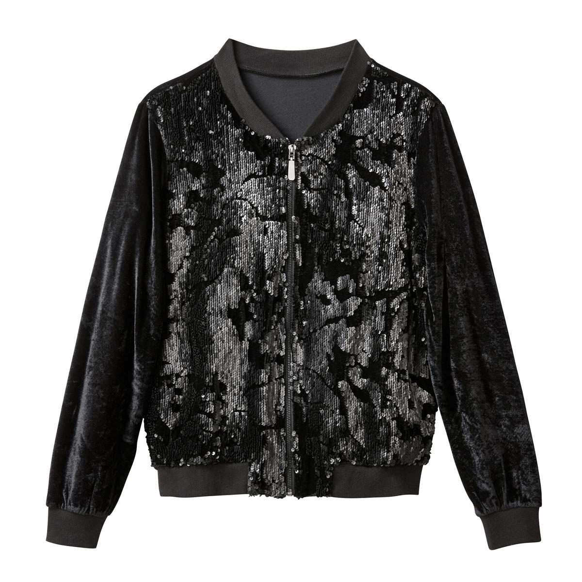 Куртка-бомбер из велюра с блестками