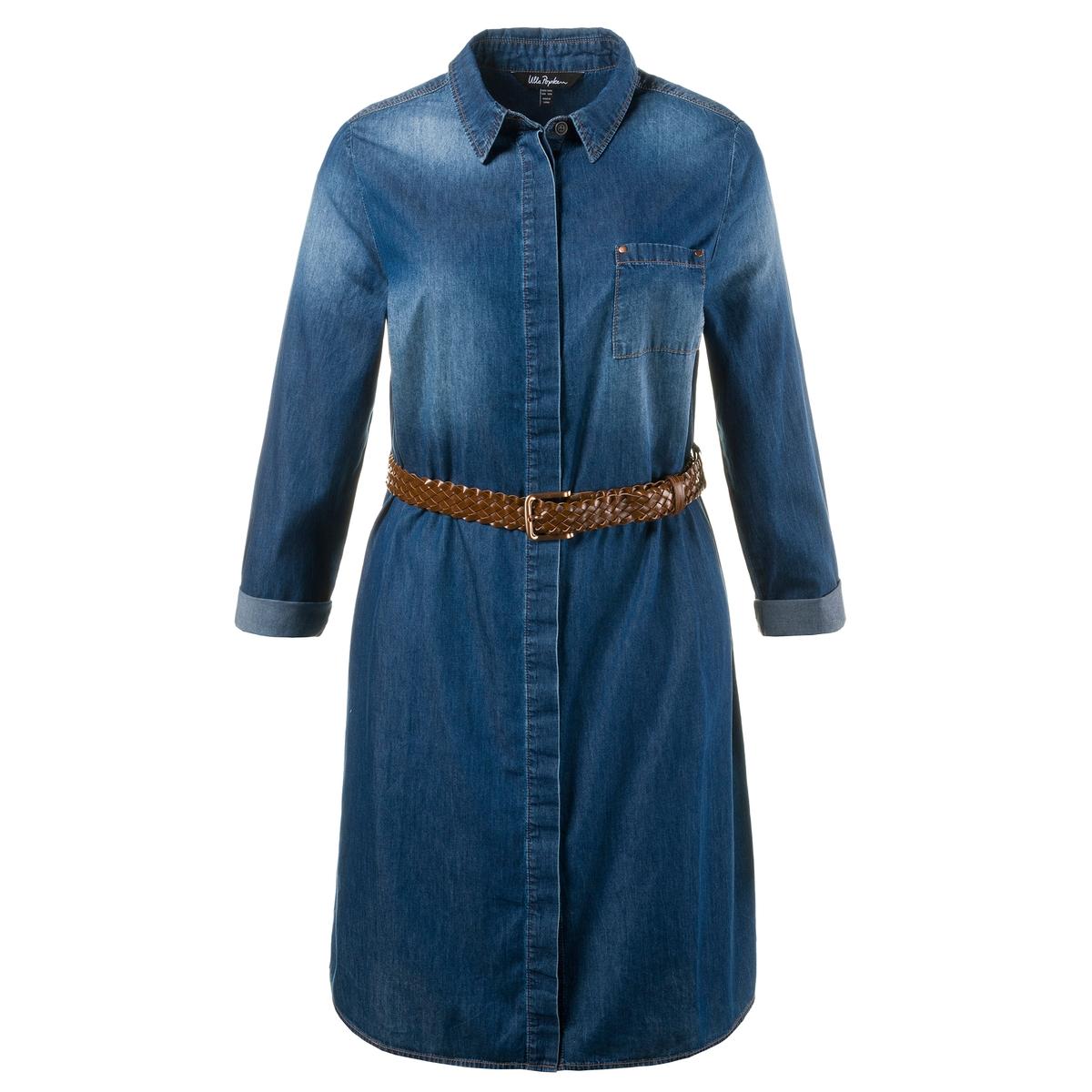 Платье из денимаОчень мягкое платье из денима. Красивый линялый эффект и плетеный пояс на завязках. Традиционный рубашечный воротник, скрытая планка застёжки на пуговицы, нагрудный карман и длинные, закатывающиеся до размера 3/4, рукава. Длина ок. 100 см, начиная с размера 52/54 ок. 104 см<br><br>Цвет: синий джинсовый<br>Размер: 48/50 (FR) - 54/56 (RUS)