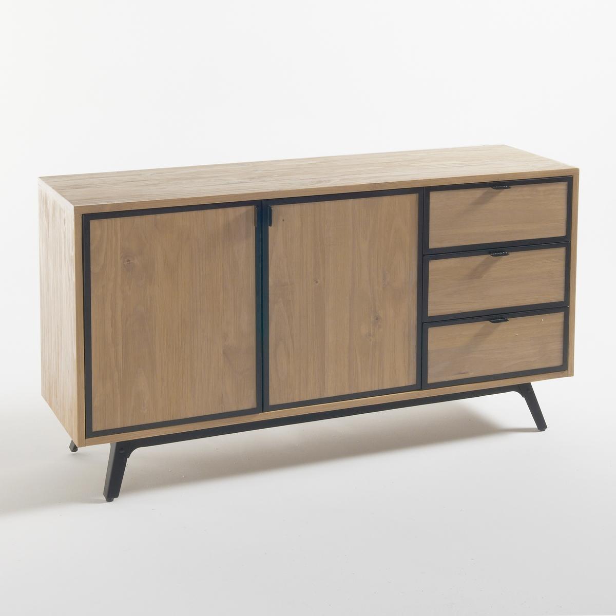 Шкаф-буфет LaRedoute С 2 дверцами и 3 ящиками Daffo единый размер каштановый