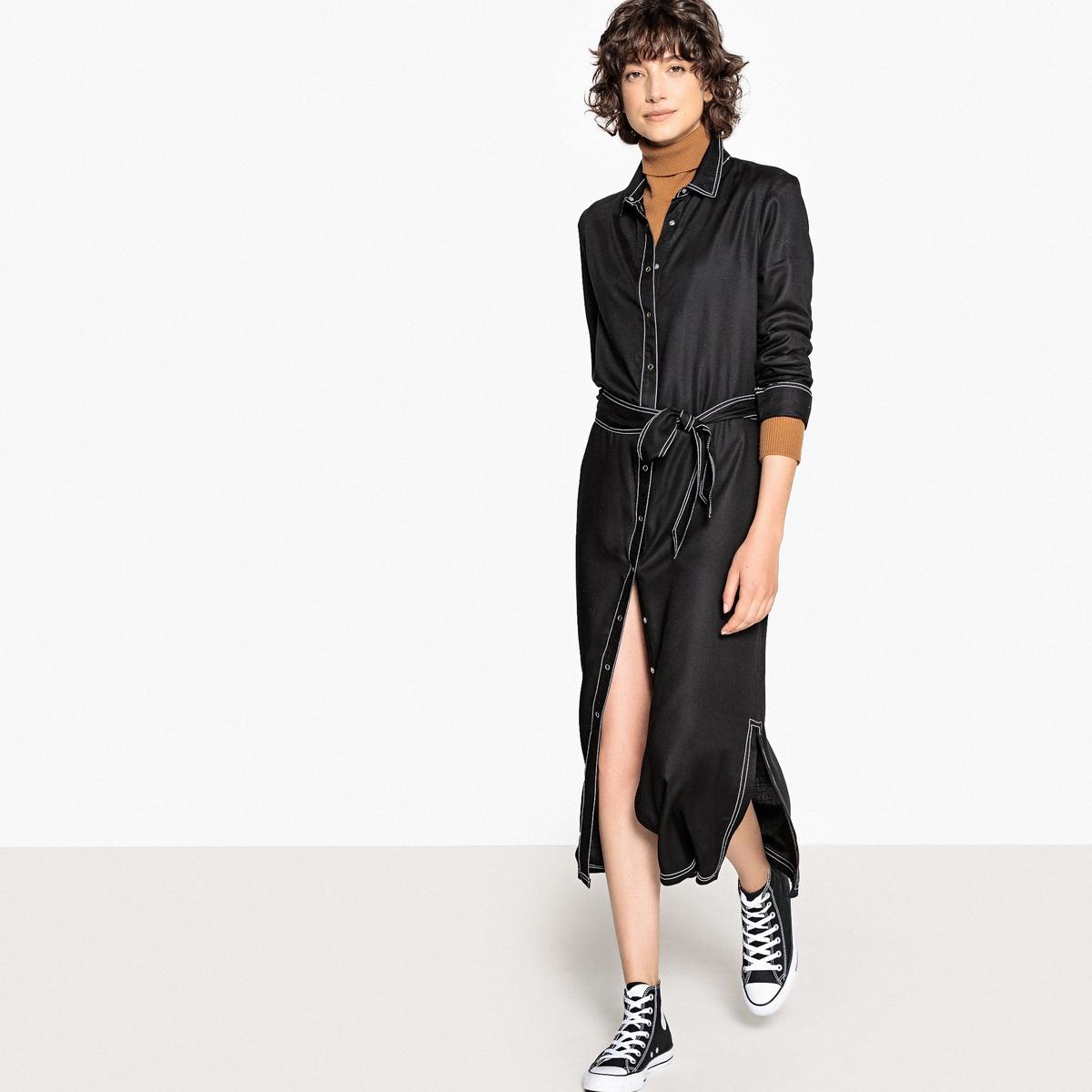 Vestido-camisa com cinto, mangas compridas