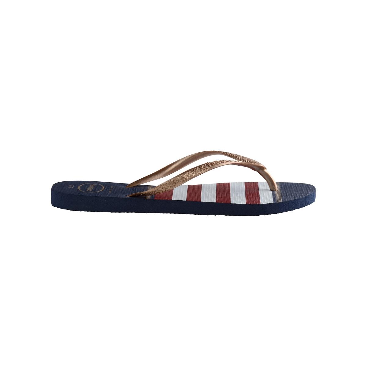 Вьетнамки Slim NauticalВерх : каучук   Стелька : каучук   Подошва : каучук   Форма каблука : плоский каблук   Мысок : открытый мысок   Застежка : без застежки<br><br>Цвет: темно-синий/белый/красный<br>Размер: 41/42