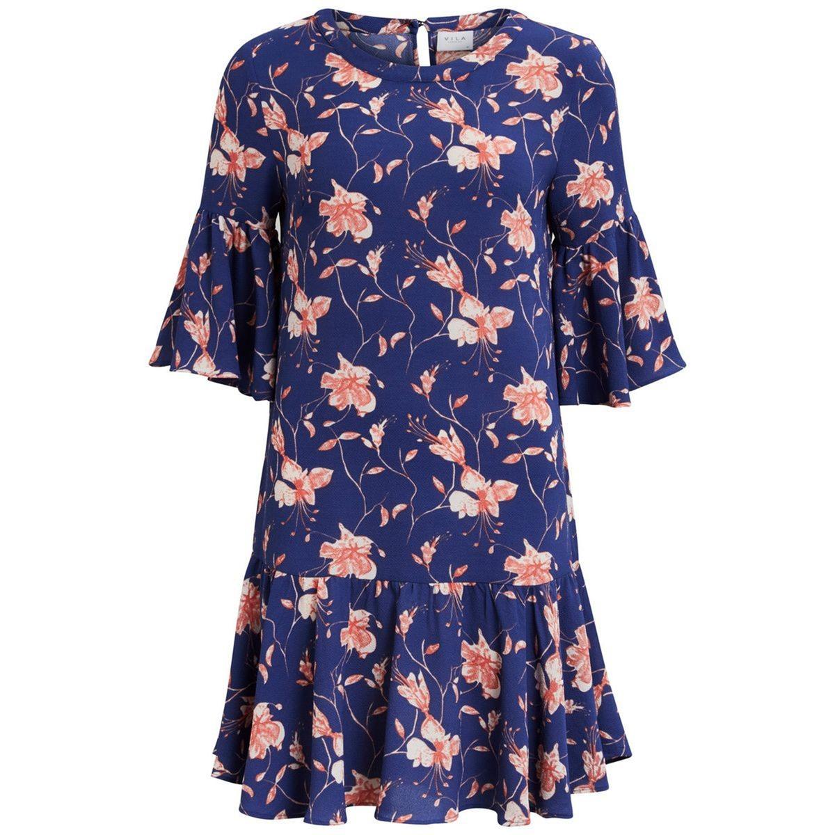 Платье короткое расклешенное с рукавами 3/4 vila платье vila модель 25960236