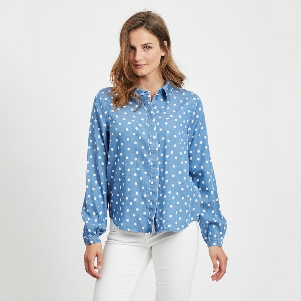 Рубашка La Redoute Из денима в горошек 38 (FR) - 44 (RUS) синий брюки la redoute с высокой талией из лиоцелла 38 fr 44 rus бежевый
