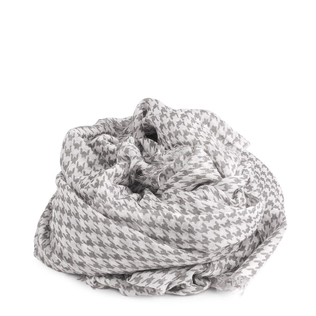 Foulard en soie et coton motif pied de poule coloré