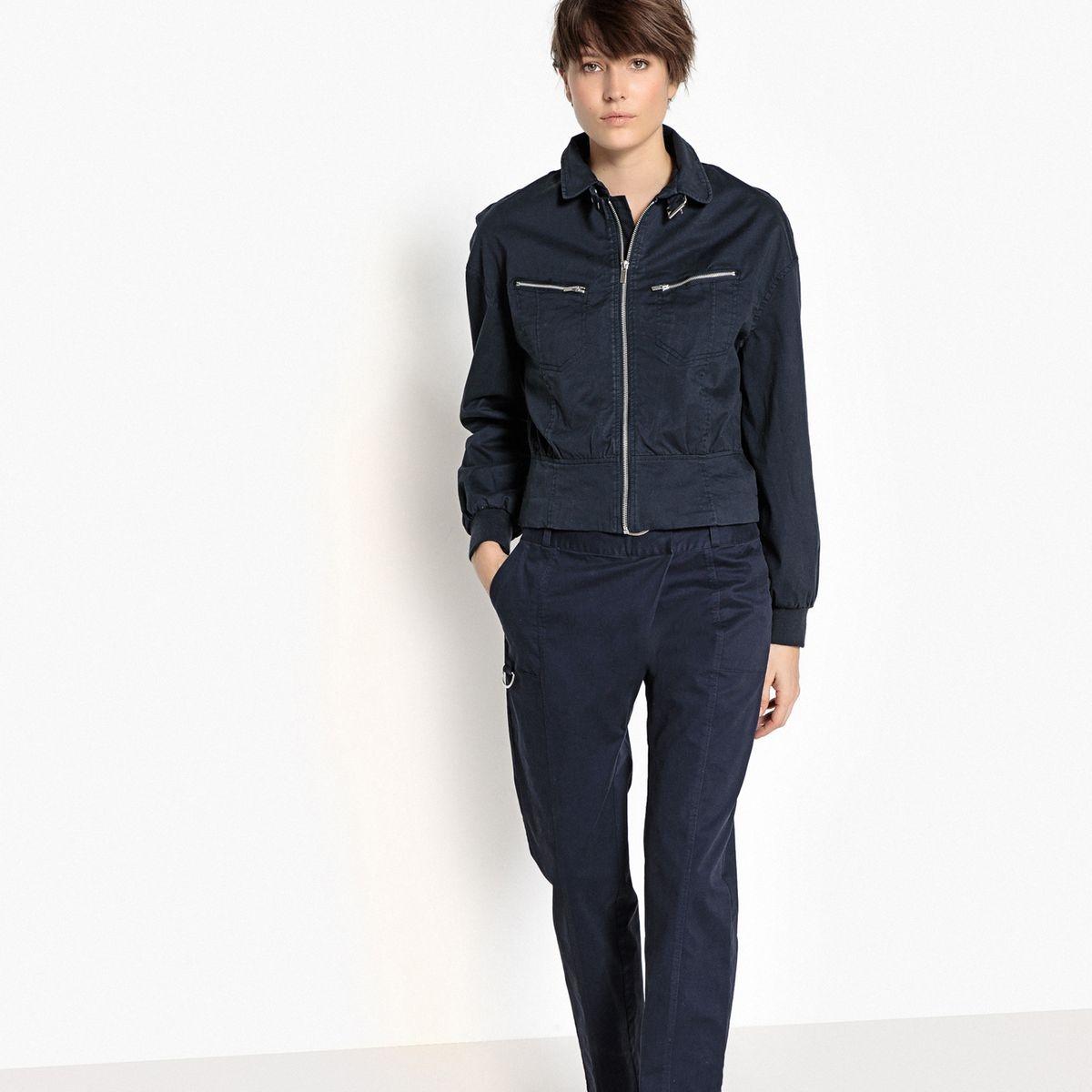 Veste zippée cintrée en jean léger