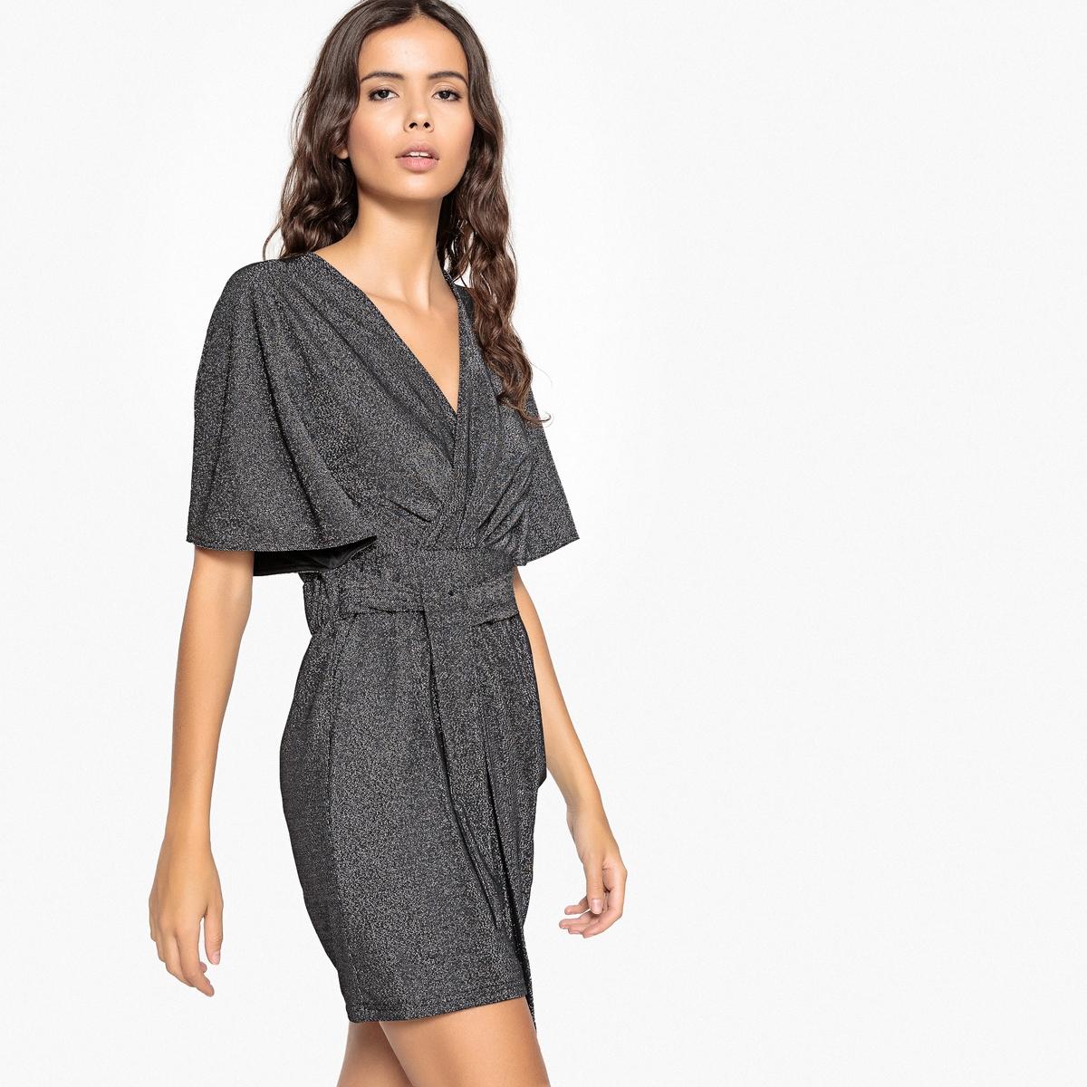 Платье La Redoute Короткое прямое с короткими рукавами XL серебристый