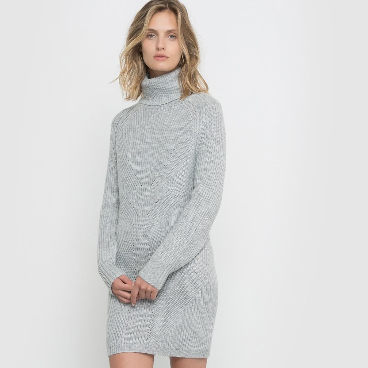 Платье-пуловерПлатье-пуловер. Оригинальный трикотаж. Высокий воротник. Длинные рукава.Состав и описание : Материал          трикотаж 40% полиамида, 33% акрила, 22% шерсти, 5% альпакиДлина       80 смМарка          R studioУход :Машинная стирка при 30 °CМашинная сушка в умеренном режиме<br><br>Цвет: серый меланж,черный<br>Размер: 42/44 (FR) - 48/50 (RUS).46/48 (FR) - 52/54 (RUS).38/40 (FR) - 44/46 (RUS)