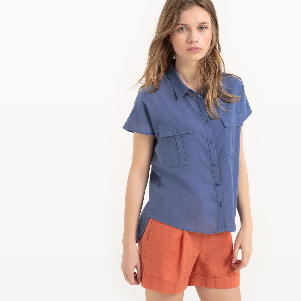 Рубашка с короткими рукавами и карманом спереди