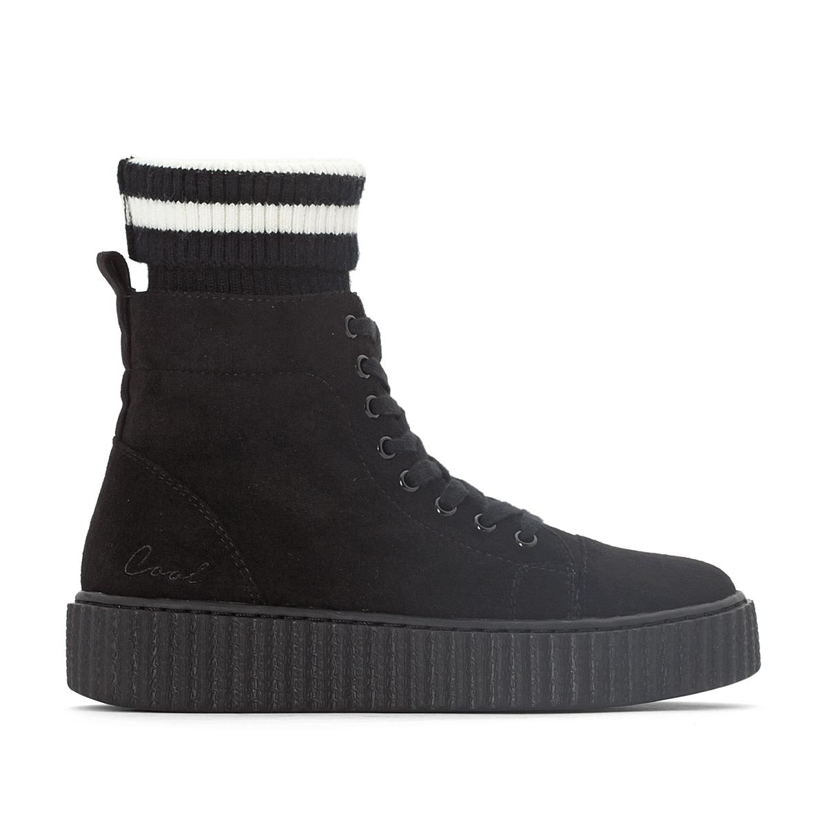 Кеды высокие YoguiОписание:Детали   •  Кеды высокие •  Спортивный стиль •  Плоский каблук •  Высота каблука : 3 см •  Застежка : шнуровка. •  Гладкая отделкаСостав и уход   •  Верх 100% синтетический материал •  Подкладка 100% синтетический материал •  Стелька 100% кожа •  Подошва 100% каучук<br><br>Цвет: черный<br>Размер: 41.38
