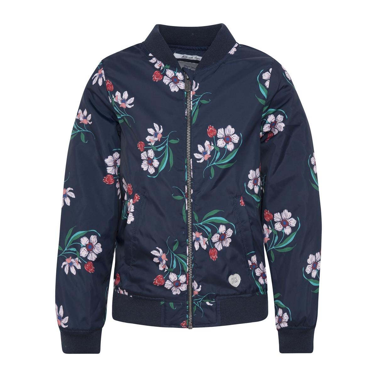 Куртка-бомбер La Redoute С цветочным рисунком 10 лет - 138 см синий