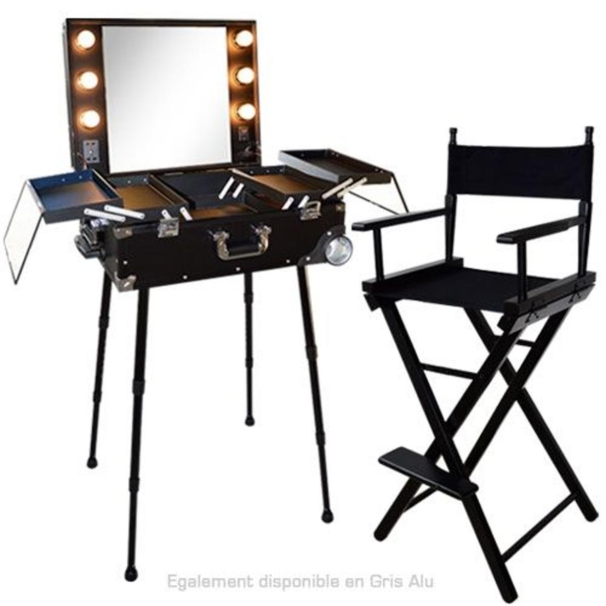 Ensemble Studio Make-up Noir et Alu, Table ALESIA et chaise maquilleur