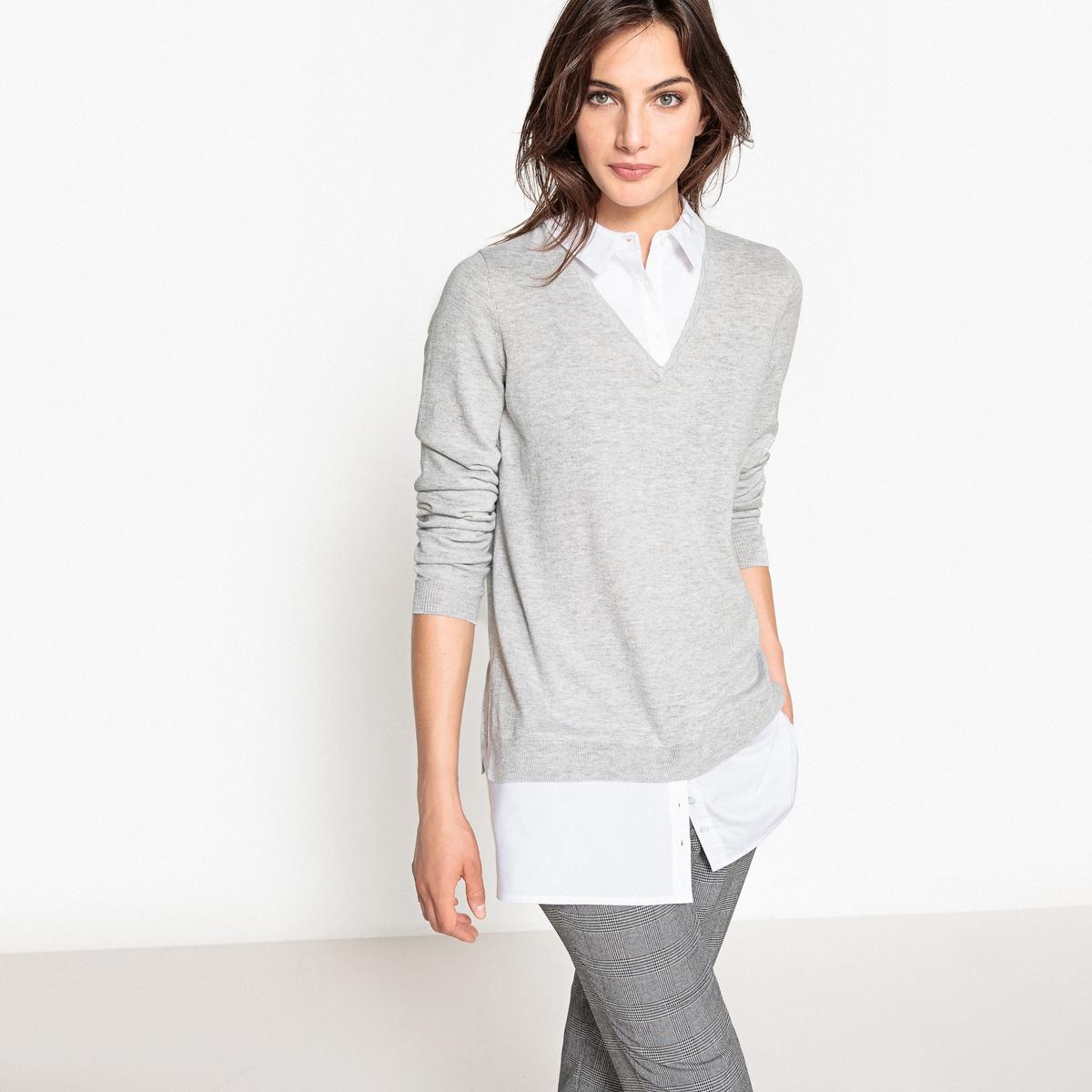 Пуловер с воротником-поло из тонкого трикотажа