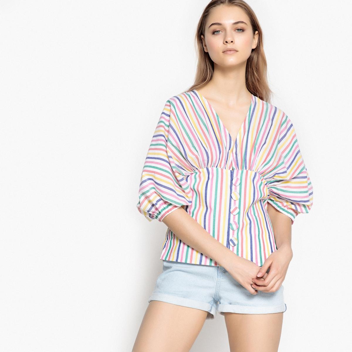 Camisa com mangas amplas, riscas multicolores