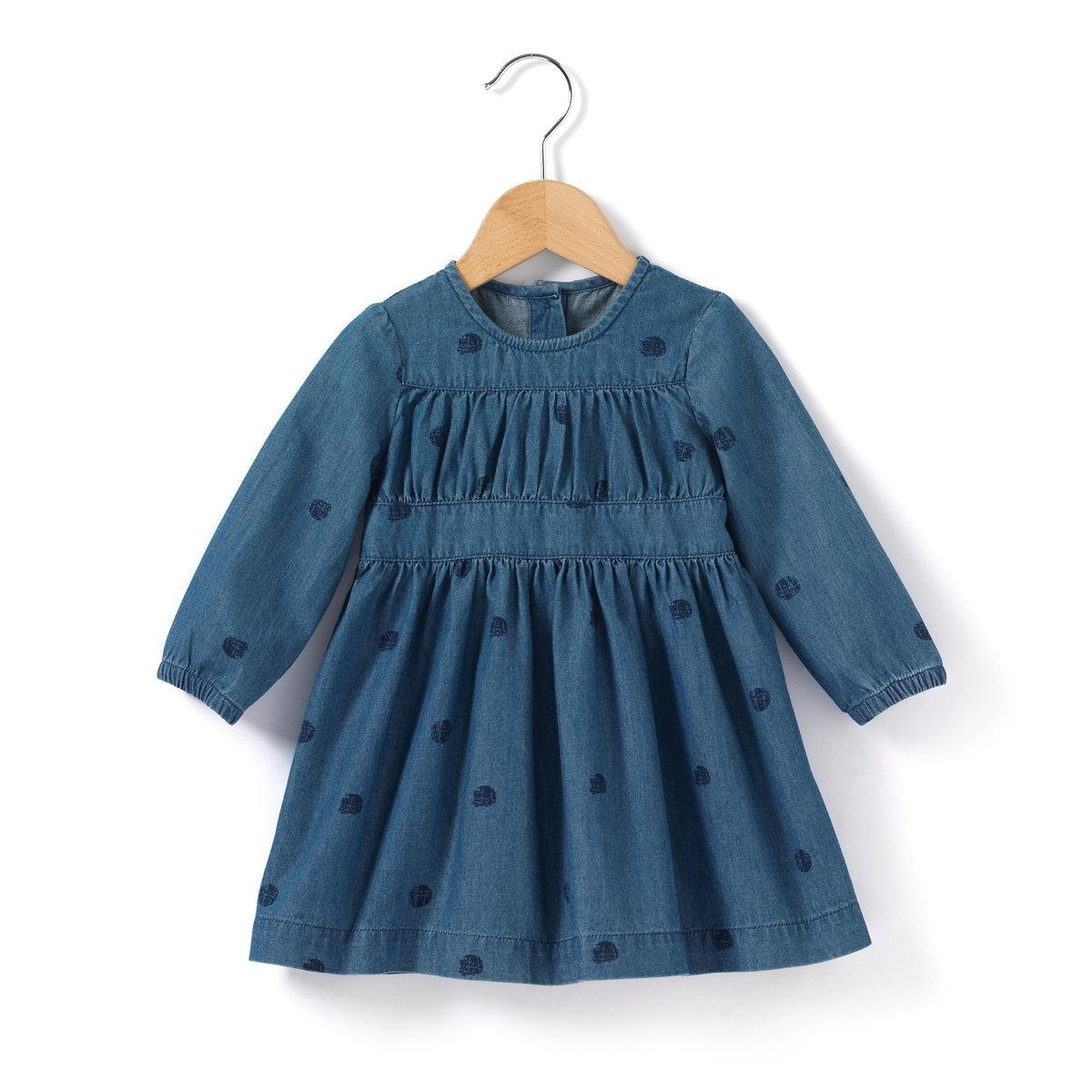 Платье джинсовое с небольшим принтом.<br><br>Цвет: синий деним<br>Размер: 9 мес. - 71 см