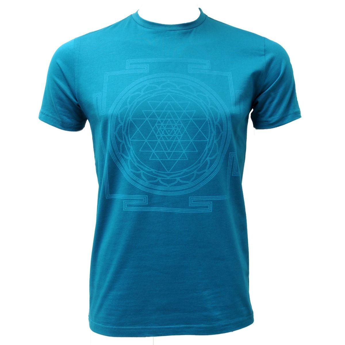 Yoga-T-Shirt  Sri Yantra , men - petrol petrol