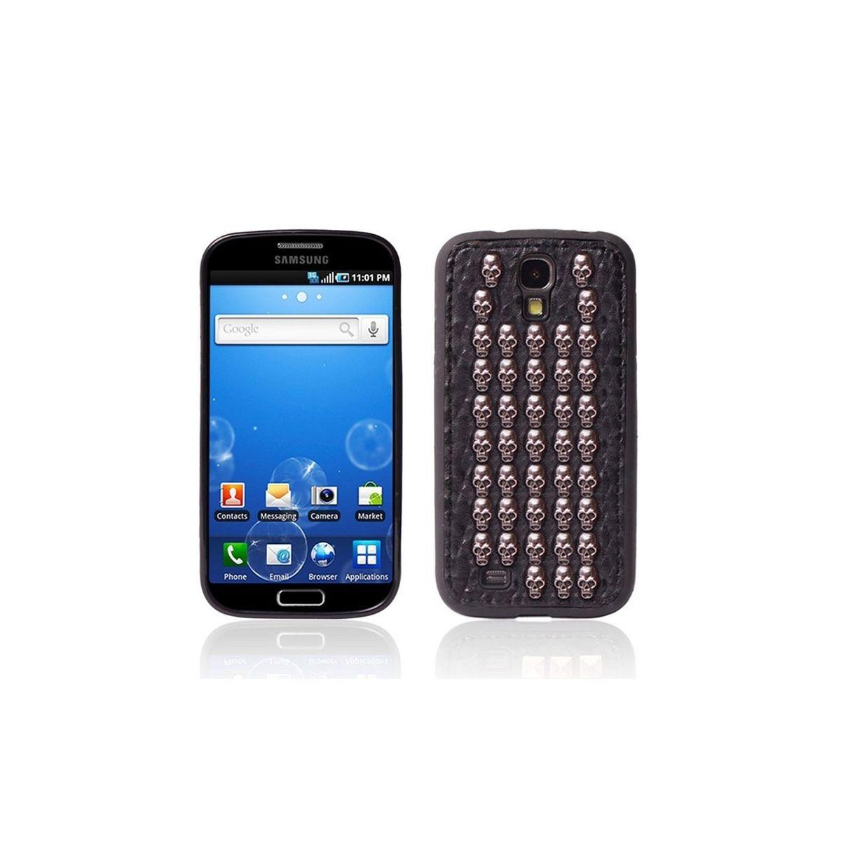 Coque souple effet cuir noir têtes de mort cloutées pour Samsung Galaxy S4 I9500
