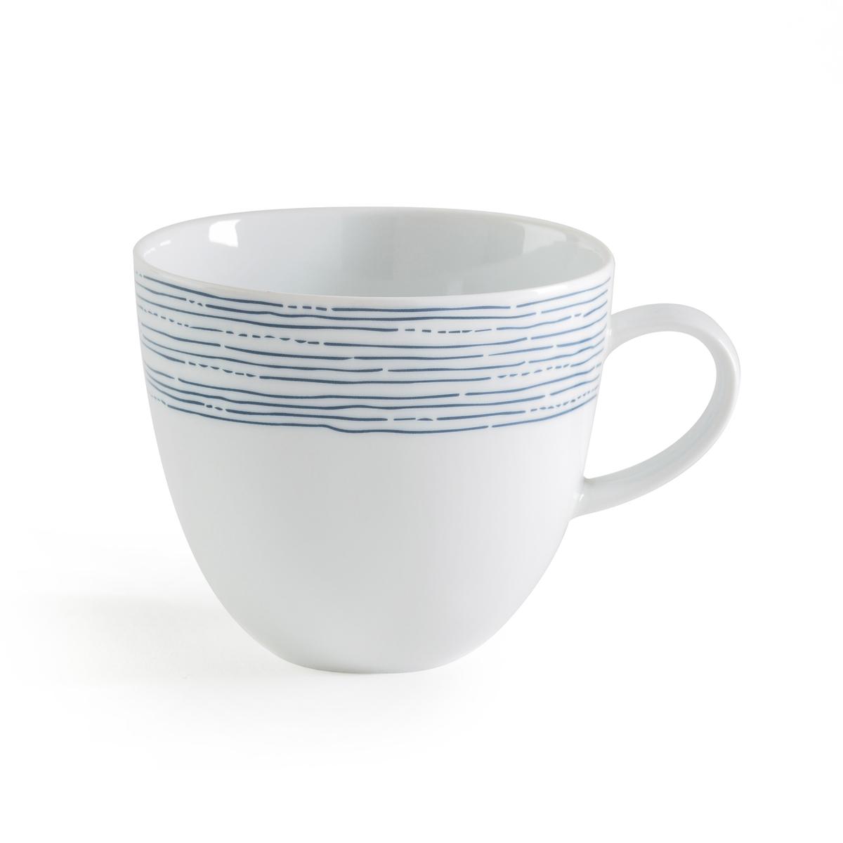Комплект из 4 кружек из фарфора, Agaxan4 кружки Agaxan. Изящный рисунок синего цвета в виде неровных линий. Из глазурованного фарфора. Размеры: ?10 x В9 см. Можно использовать в посудомоечных машинах и микроволновых печах. Сделано в Португалии. Вы можете подобрать подходящие мелкие и десертные тарелки на нашем сайте.<br><br>Цвет: синий/ белый