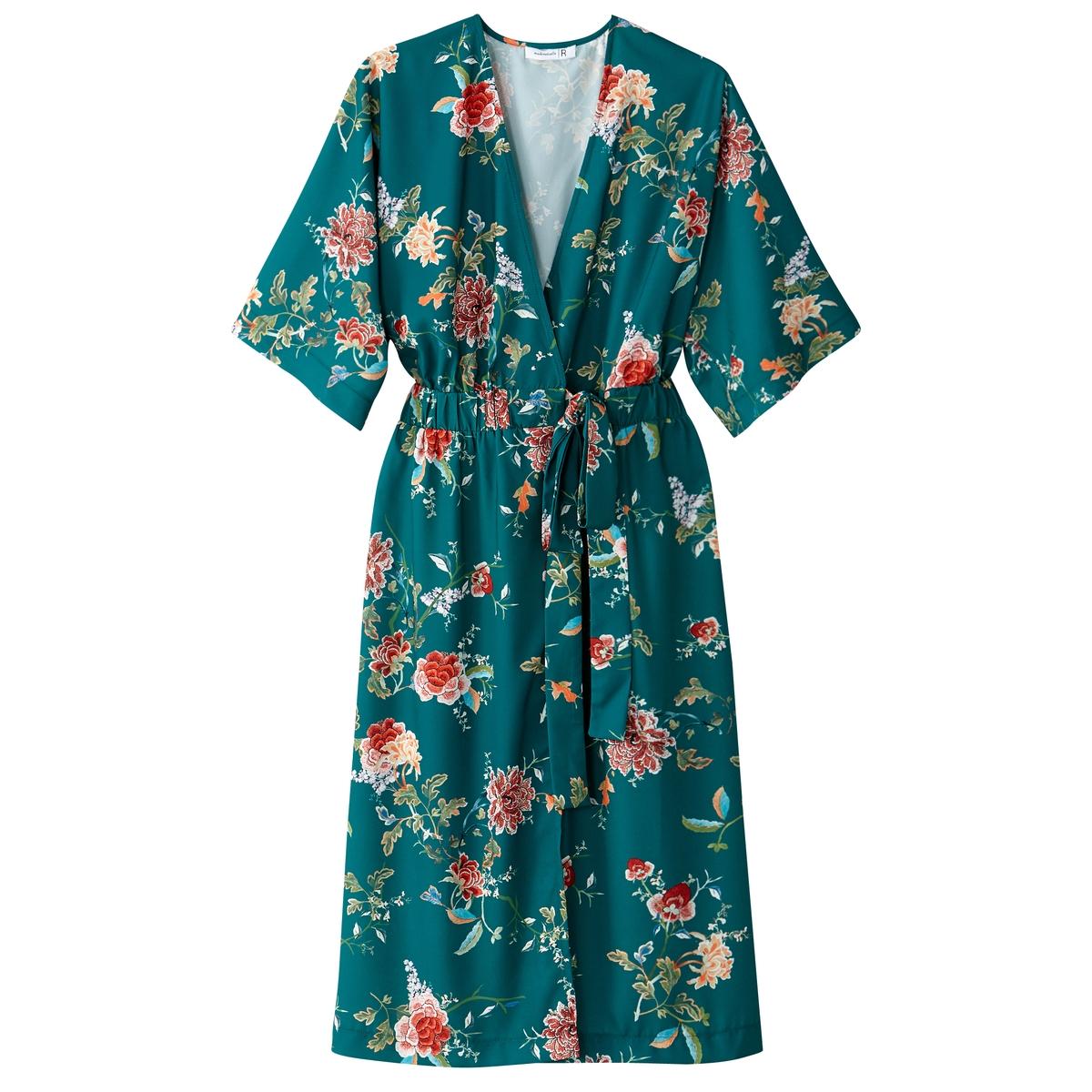 Платье-кимоно с цветочным рисункомДетали •  Форма : с запахом  •  Длина миди, 3/4 •  Короткие рукава    •   V-образный вырез •  Рисунок-принтСостав и уход •  100% вискоза •  Температура стирки 30° на деликатном режиме   •  Сухая чистка и отбеливание запрещены •  Не использовать барабанную сушку •  Низкая температура глажки<br><br>Цвет: рисунок/зеленый фон<br>Размер: 36 (FR) - 42 (RUS).38 (FR) - 44 (RUS).44 (FR) - 50 (RUS).34 (FR) - 40 (RUS)