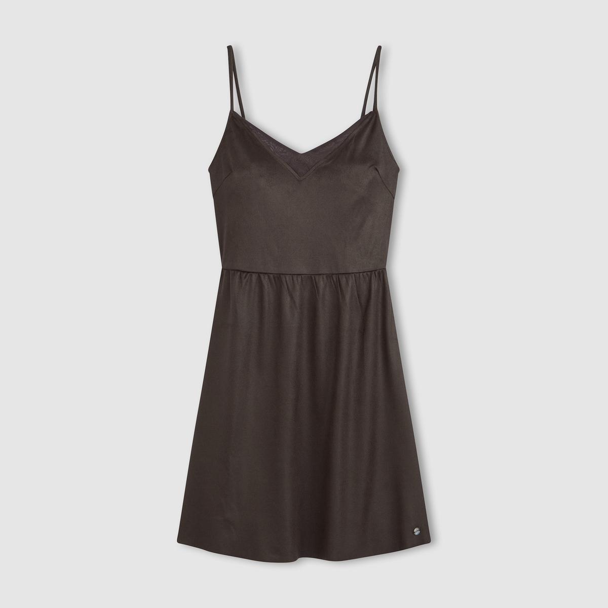 Платье с замшевым эффектом на тонких бретелях