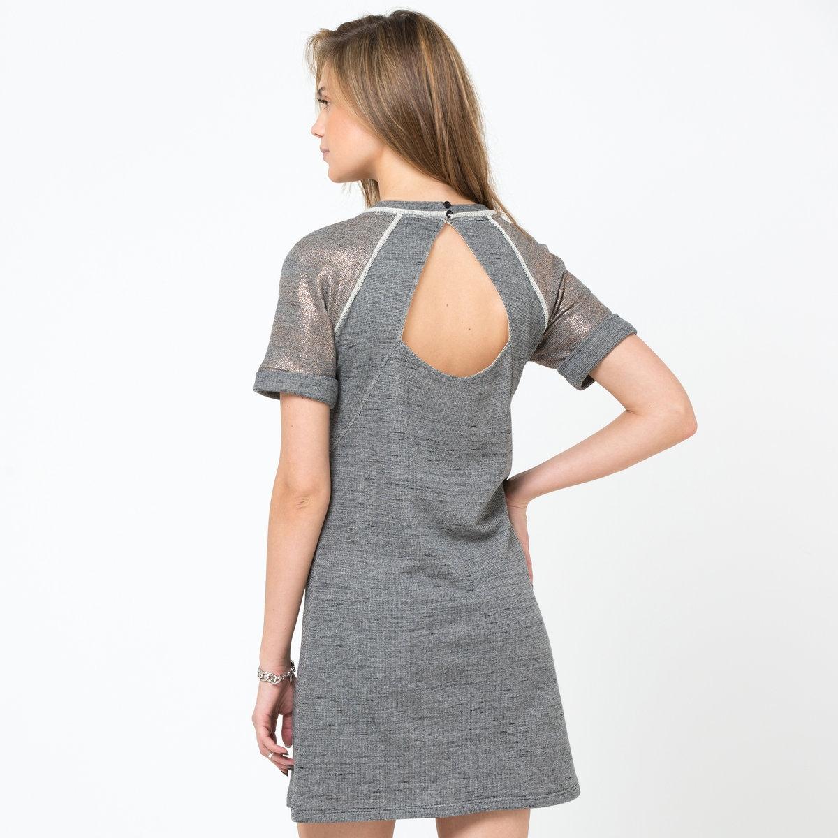 Платье с короткими рукавамиПлатье из блестящего мольтона. ЗАкругленный вырез спереди. V-образный вырез сзади.Короткие рукава. Длина. длина ок.90 см.<br><br>Цвет: серый меланж/золотистый<br>Размер: 44 (FR) - 50 (RUS)