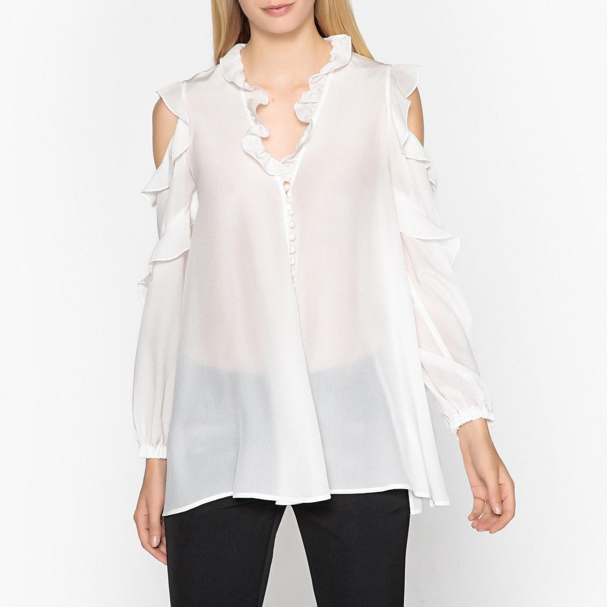 Блузка шелковая с открытыми плечами и воланами