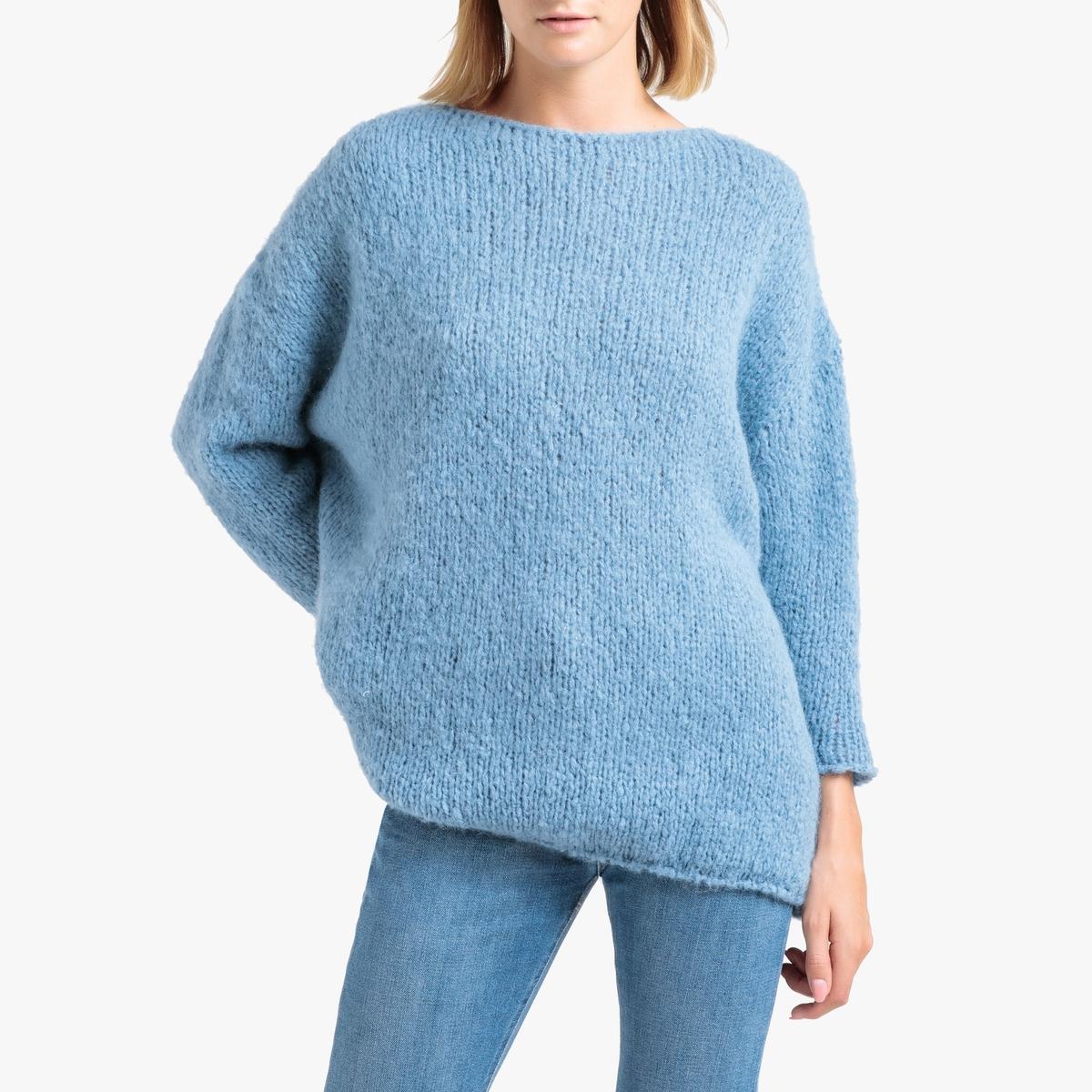 Пуловер La Redoute С вырезом-лодочкой из трикотажа BOOLDER M/L синий пуловер la redoute с круглым вырезом из шерсти мериноса pascal 3xl черный