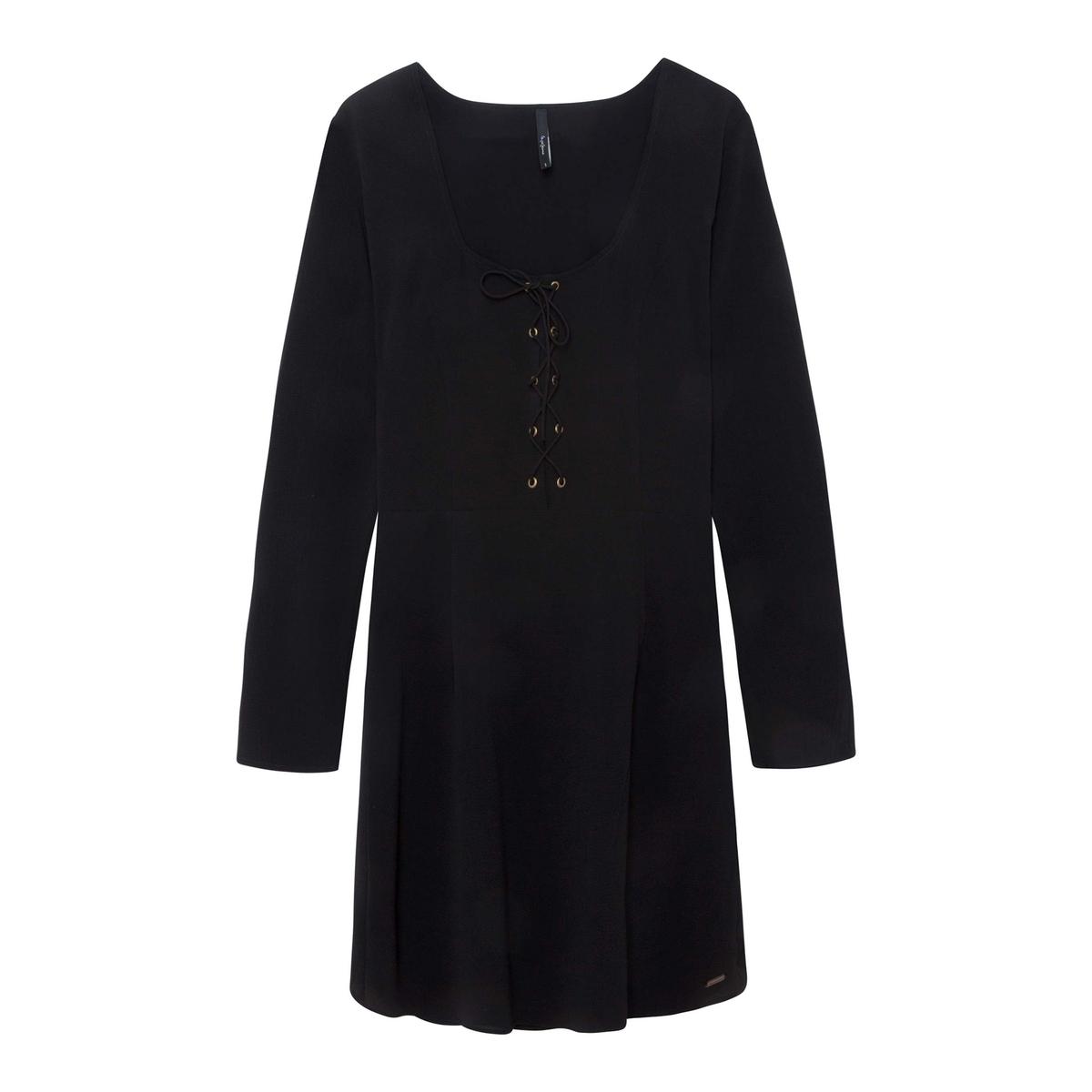 цена Платье-миди La Redoute Прямое с длинными рукавами S черный онлайн в 2017 году